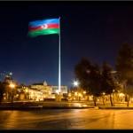 118_National flag near Azneft roundabout, Baki Bulvar, Baku, Azerbaijan